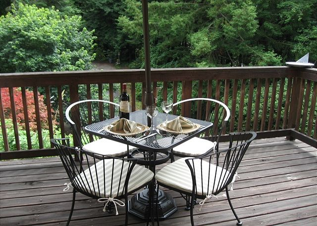 Unwind out on the deck - great for morning coffee, sipping wine, and having your dinner...