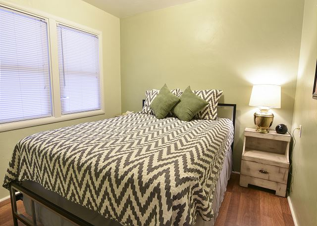 Bedroom with new, comfortable queen bed