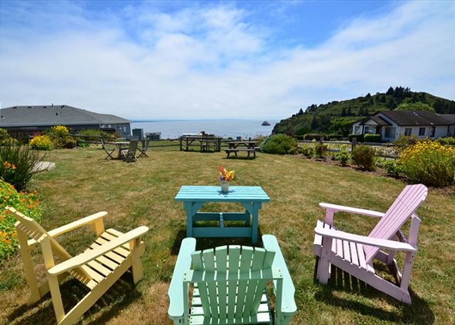 Lots of great seating outside with wonderful ocean and bay views and big yard