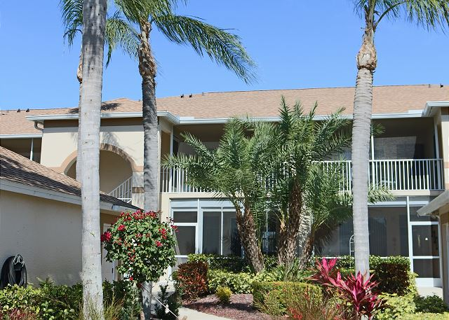 This second floor condo has two screened in balconies so there is sun or shade available at any time and view over the beautiful landscaped golf course or the landscaped front.