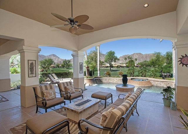 Spacious patio with mountain views