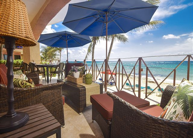 Private Oceanfront terrace that occupies one third of the Luna Encantada Beachfront.