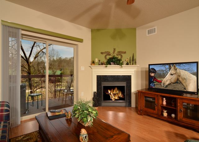 Seasonal Gas Fireplace and Large Flat Screen TV in Living Room