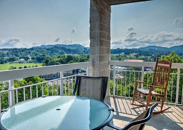 Private Balcony with Rocker overlooking Pigeon Forge