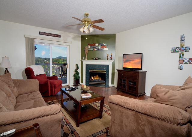 Spacious Living Room with Hardwood Floor, flat screen and gas fireplace.