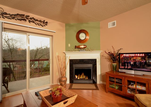 Living Room with Seasonal Gas Fireplace and Flat Screen TV