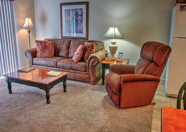 Sofa and Recliner in Living Room with carpet