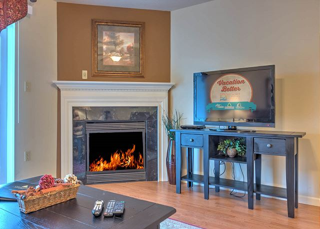 Gas Fireplace and TV in Living Room