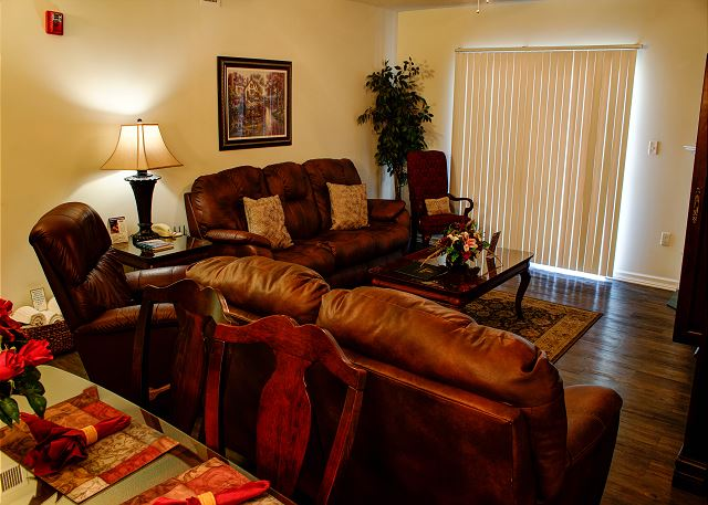 Leather Furniture in Living Room with Hardwood Floor
