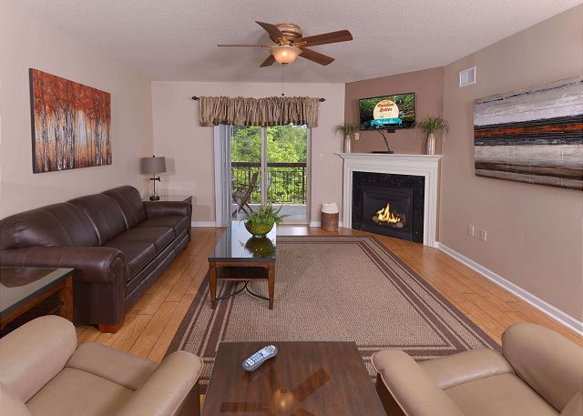 Seasonal Gas Fireplace and Flat Screen TV in Living Room