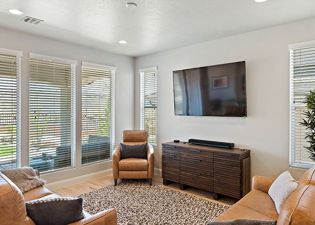 Living Room - leather and flat screen
