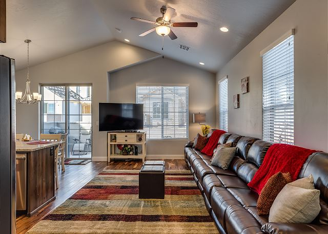Living Room with 8 Recliners, Huge Flat Screen TV,