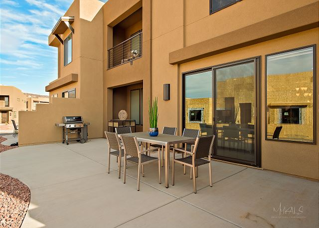 Patio furniture and grill