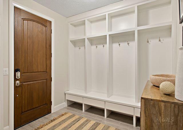 Built in coat rack and shelves