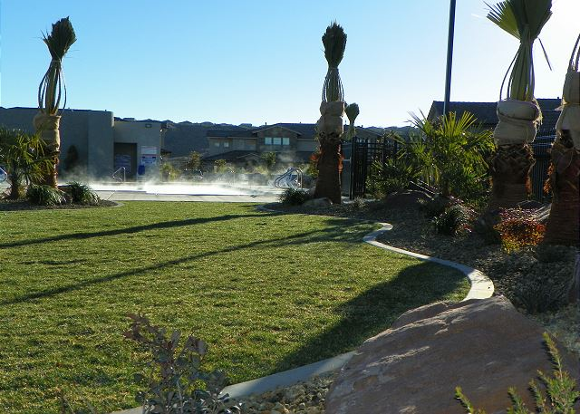Grass area and steaming pool
