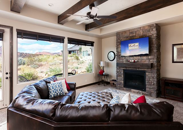 Living Room with TV, patio access