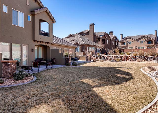 Large back yard - patio furniture - grill