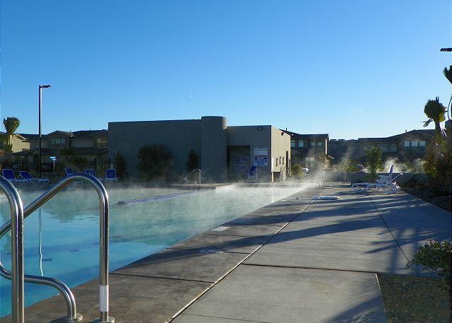 Pool hot tub steaming