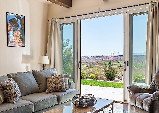 Living Room to patio, golf views
