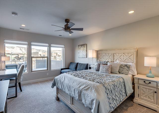 Upstairs bedroom with Queen, work desk, sofa sleeper