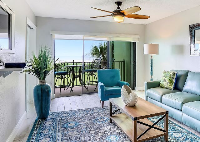 Amazing decor, all new top to bottom. Large sliding doors opening up to beach front balcony.
