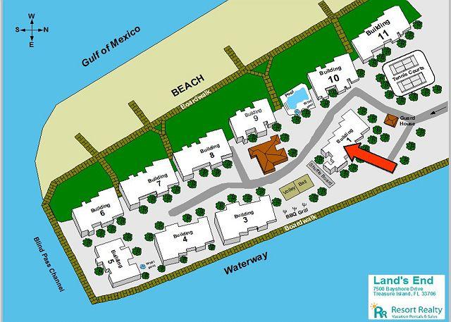 Treasure Island Florida Map.Treasure Island Fl United States Lands End 203 Building 1 Gulf