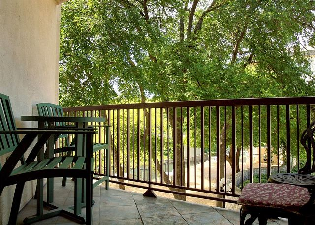 The private patio is the perfect spot for views of the river and Inverness property!