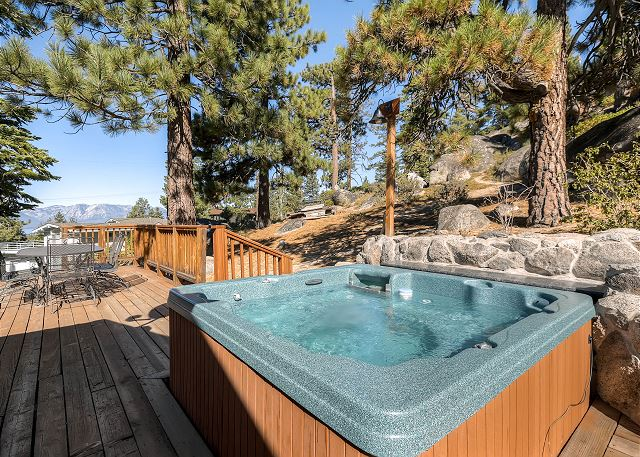 Privacy in this awesome hot tub surrounded by natural rock