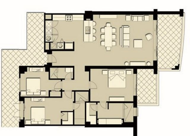 Floor Plan at the oceanview VistaMar 5C vacation rental condo in Jaco, just steps to the beach.