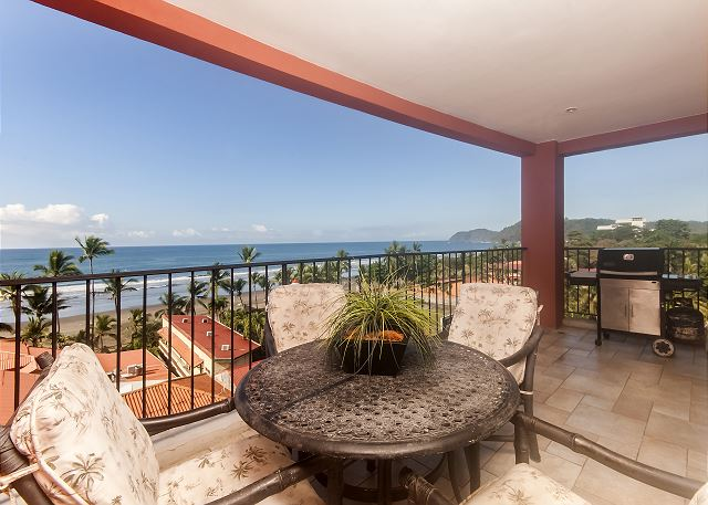 Large terrace with panoramic views of Jaco beach at vacation rental condo Vista Mar 5C in Jaco, Costa Rica