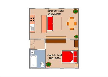 The floor plan show well how you can use the apartment as bedrro
