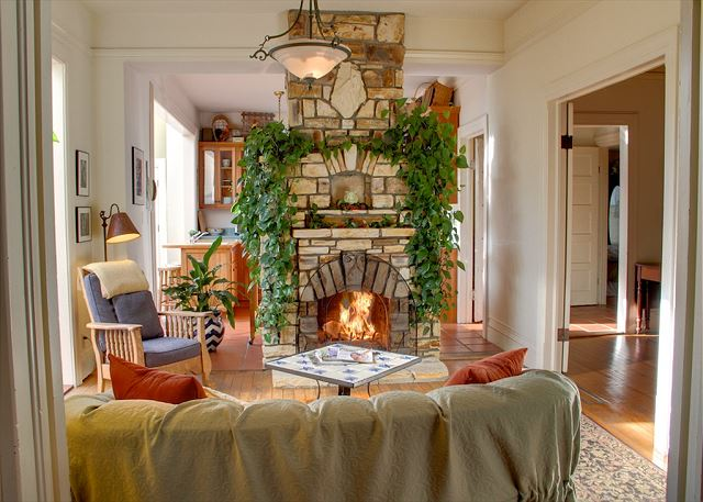 Cozy up to the fire in the Fireplace Room.
