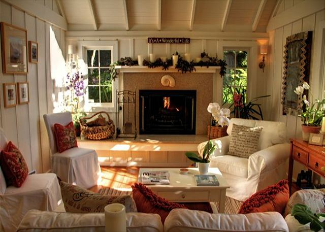 "Welcome to ""Sanctuary-by-the-Sea\""! Living room with woodburning fireplace and gas kindler. A perfect Carmel cottage."