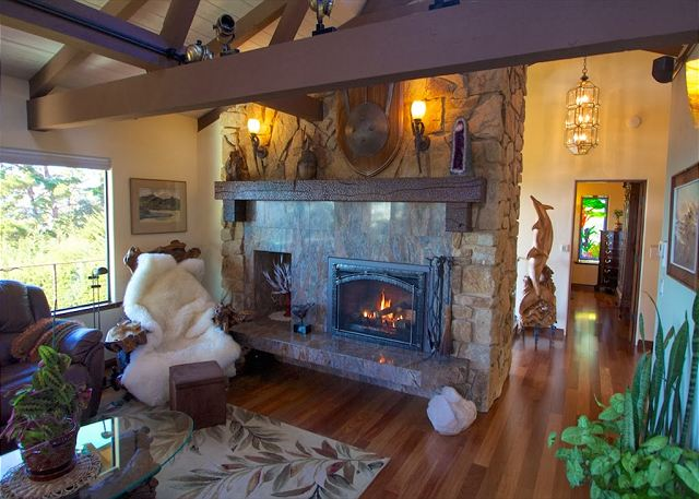 Living room with fireplace.