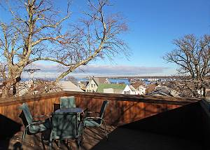 Roof top deck with views of Vineyard Haven Harbor
