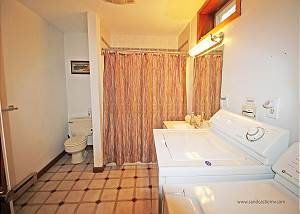 Lower level bathroom with laundry
