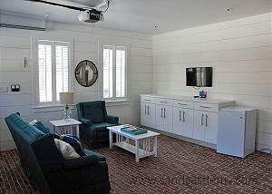 TV room on first floor in Carriage House