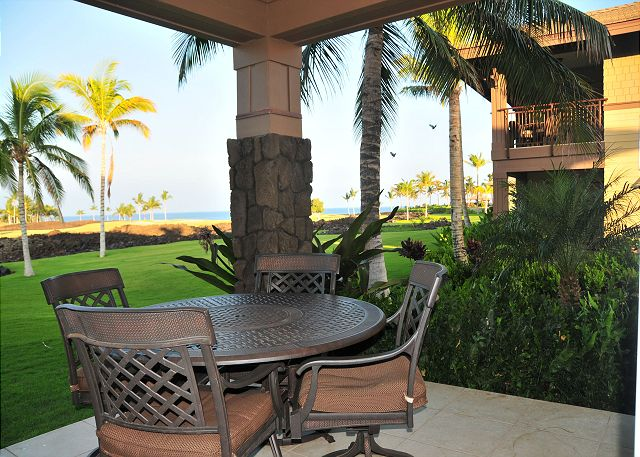 Outdoor Dining Area features spectacular ocean views and golf course views too!  Ground floor villa with expanded lawn area.