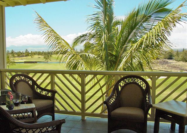 Relax on your private lanai with views of Mauna Kea and Waikoloa Beach Golf Course.