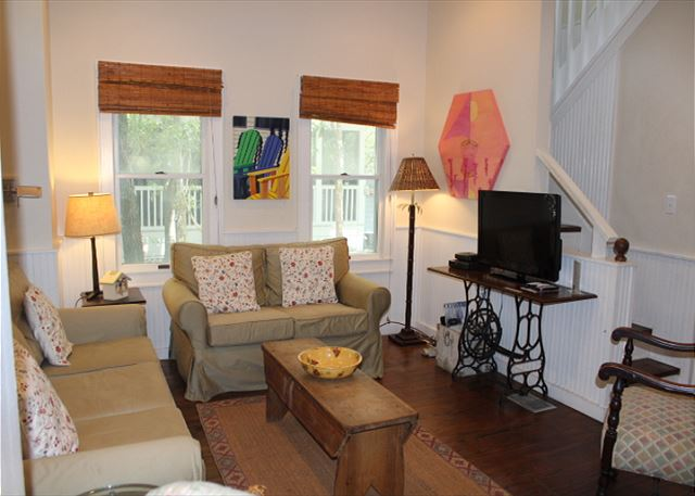 Open Living & Dining Space with Flat Screen TV