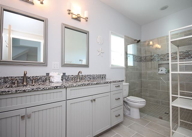 Guest Bath with Shower Only & Dual Sinks
