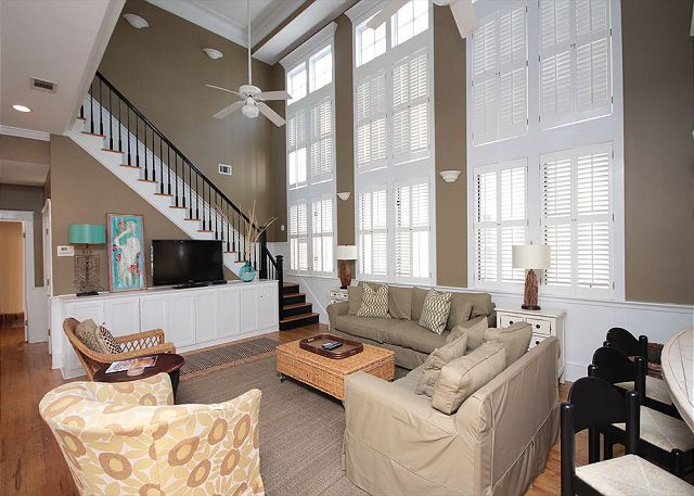 Two-Story Living Room with Flat Screen TV