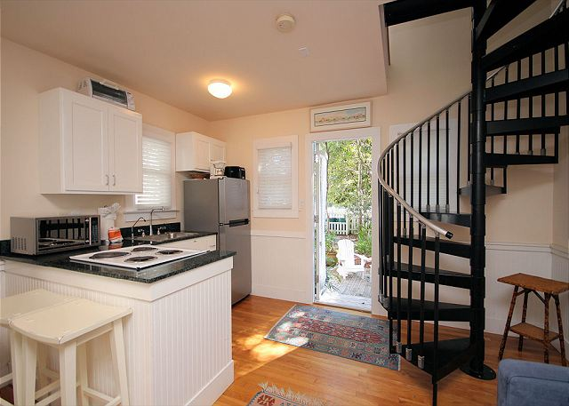Kitchen View & Spiral Staircase to Bedroom