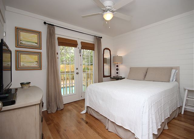 Queen Guest Bedroom on Main Level with Pool Access