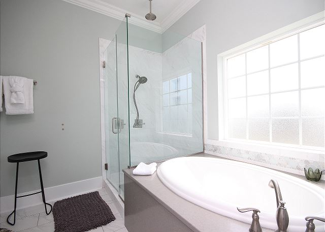 Downstairs Master Bath with Jacuzzi & Separate Shower