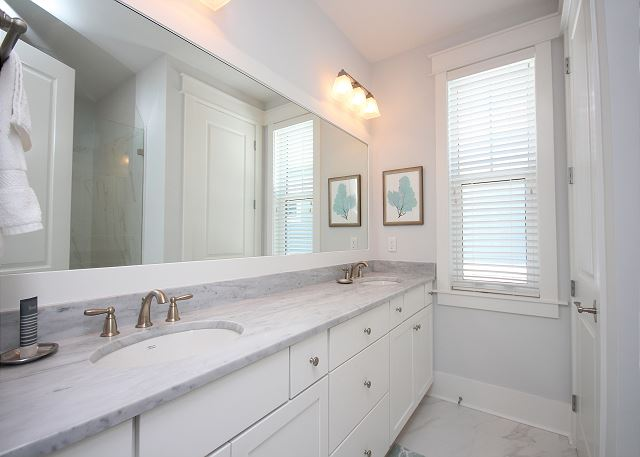 Master Bath with Dual Sinks & Marble Shower Upstairs