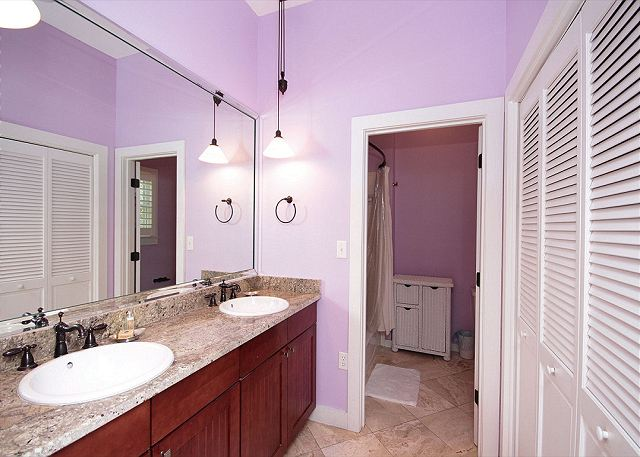 Master Bath with Dual Sinks, Granite Countertops, and Bath/Showe