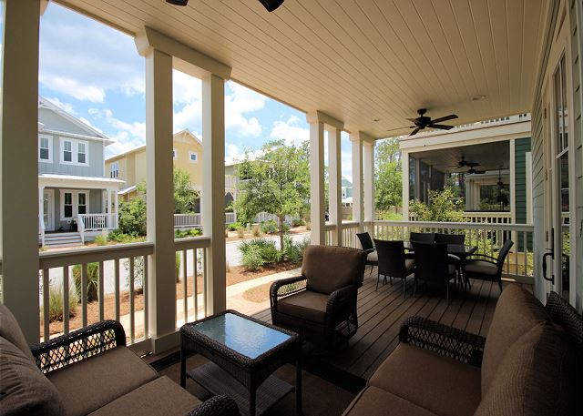 Front Porch with Outside Dining Space