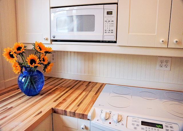 Newly Renovated Kitchen with Butcher Block Countertops