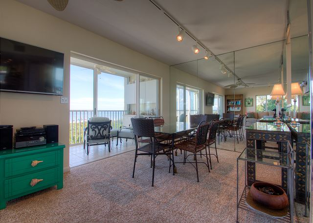 Dining Room with large table and gulf views
